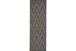 30X96 Rug-Charcoal Grey Tonal Flamestitch