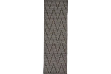 30X96 Rug-Charcoal Grey Tonal Flamestitch