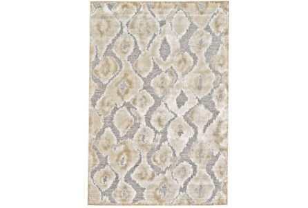 63X90 Rug-Pewter And Cream Ikat