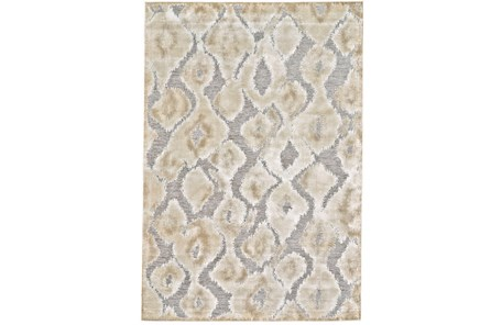 90X126 Rug-Pewter And Cream Ikat - Main