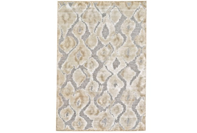 90X126 Rug-Pewter And Cream Ikat - 360