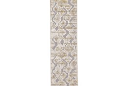 30X96 Rug-Pewter And Cream Ikat