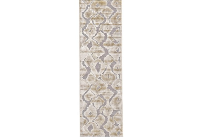 30X96 Rug-Pewter And Cream Ikat - 360