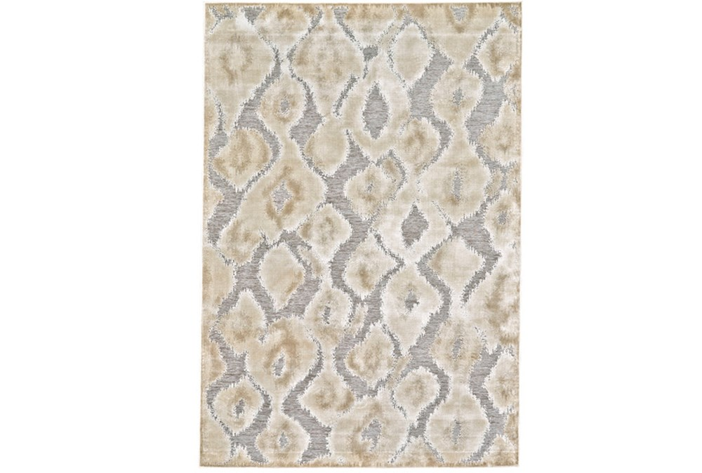 "9'6""x12'6"" Rug-Pewter And Cream Ikat"