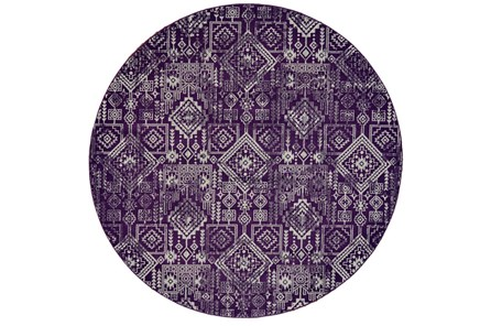 96 Inch Round Rug-Violet Turkish Pattern - Main