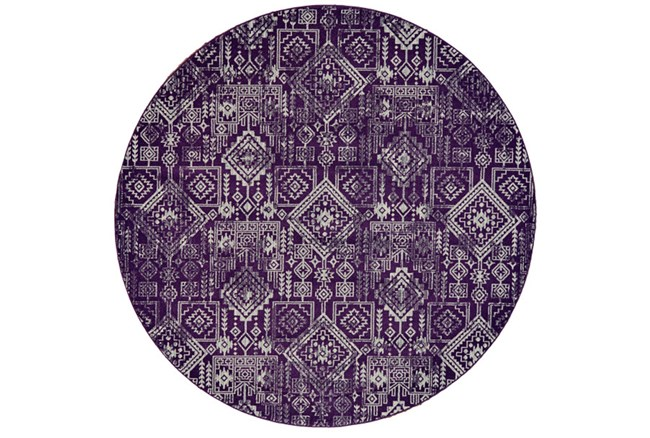 96 Inch Round Rug-Violet Turkish Pattern - 360