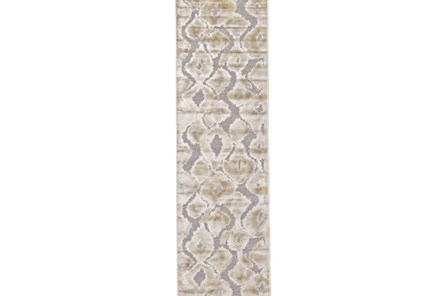 30X142 Rug-Pewter And Cream Ikat - Main