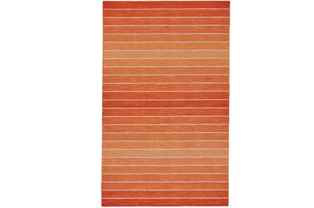 48X72 Rug-Orange Ombre Stripe Flat Weave