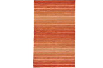 60X96 Rug-Orange Ombre Stripe Flat Weave