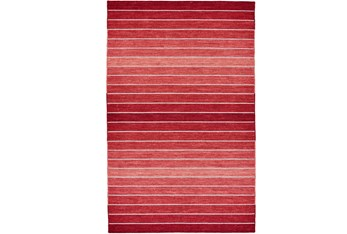 5'x8' Rug-Red Ombre Stripe Flat Weave