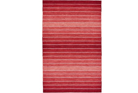 60X96 Rug-Red Ombre Stripe Flat Weave