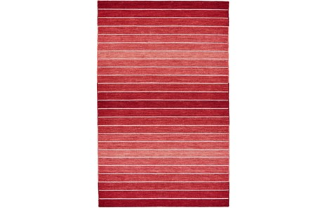60X96 Rug-Red Ombre Stripe Flat Weave - Main
