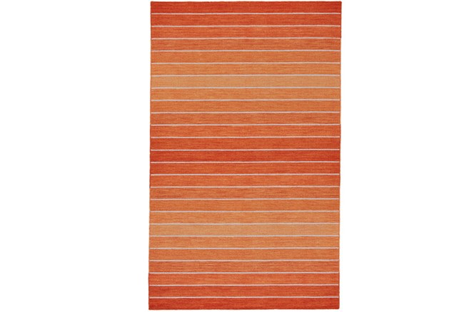 96X132 Rug-Orange Ombre Stripe Flat Weave - 360