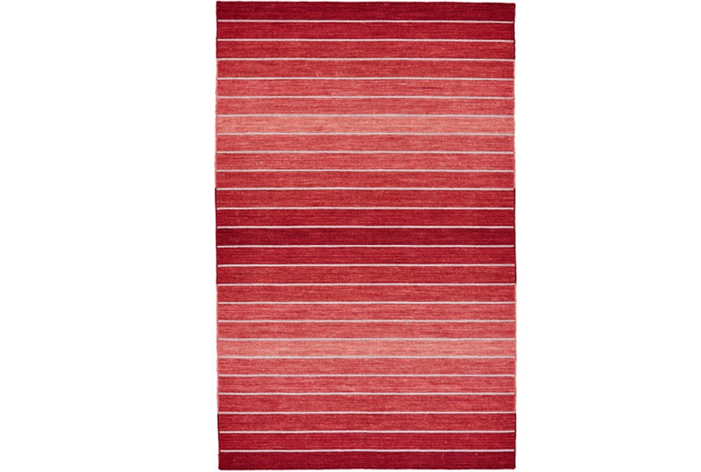 96X132 Rug-Red Ombre Stripe Flat Weave