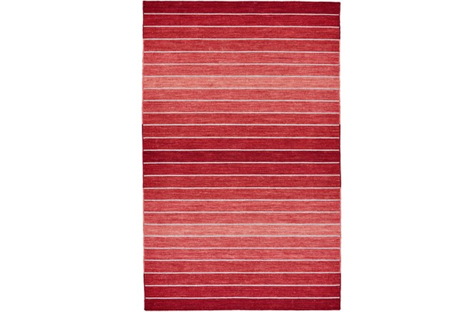 96X132 Rug-Red Ombre Stripe Flat Weave - 360
