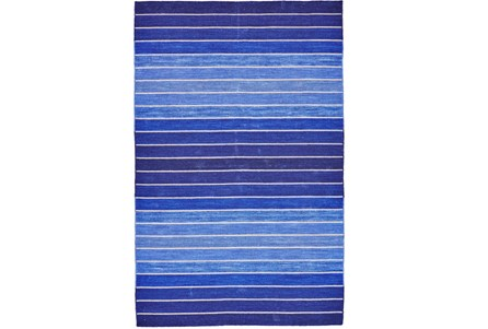 114X162 Rug-Indigo Ombre Stripe Flat Weave