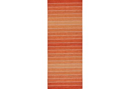 30X96 Rug-Orange Ombre Stripe Flat Weave