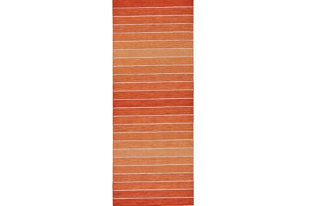 30X96 Rug-Orange Ombre Stripe Flat Weave - Main