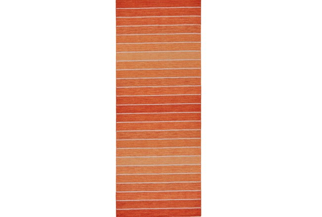 30X96 Rug-Orange Ombre Stripe Flat Weave - 360