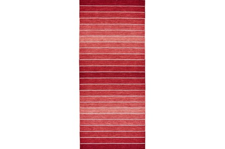 30X96 Rug-Red Ombre Stripe Flat Weave - Main