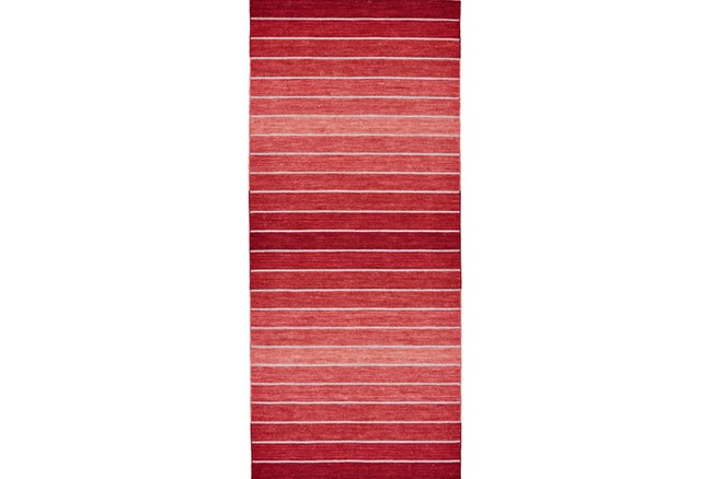 30X96 Rug-Red Ombre Stripe Flat Weave - 360