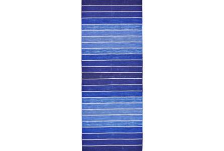 30X96 Rug-Indigo Ombre Stripe Flat Weave