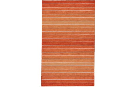 108X108 Rug-Orange Ombre Stripe Flat Weave