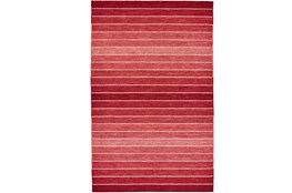 108X108 Rug-Red Ombre Stripe Flat Weave