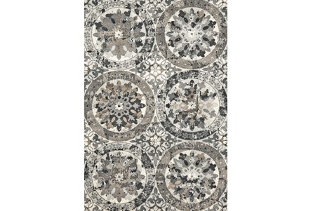 60X96 Rug-Stone Grey Distressed Round Medallions