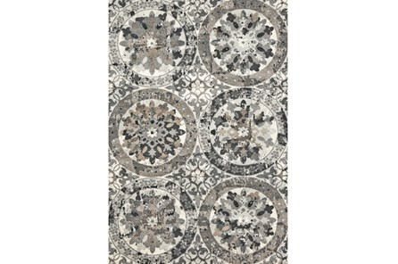 60X96 Rug-Stone Grey Distressed Round Medallions - Main