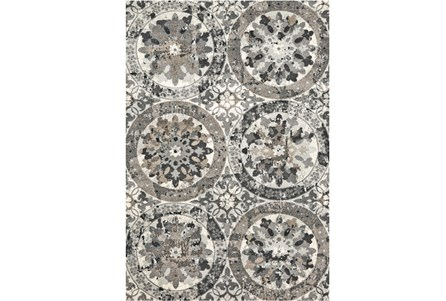 120X158 Rug-Stone Grey Distressed Round Medallions