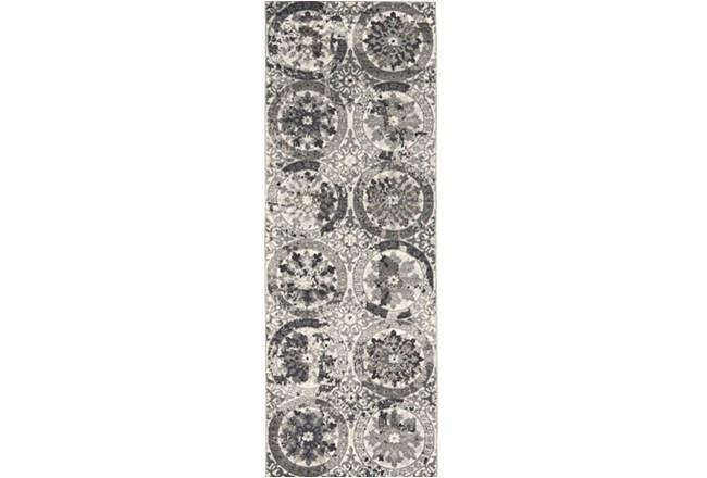34X94 Rug-Stone Grey Distressed Round Medallions - 360