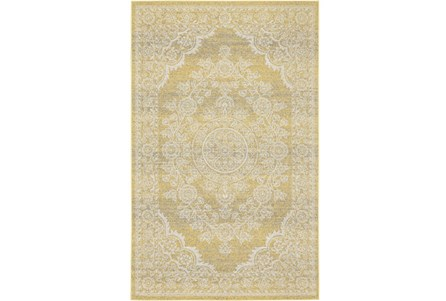 60X96 Rug-Yellow And Ivory Ornate Traditional