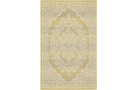 96X132 Rug-Yellow And Ivory Ornate Traditional - Main
