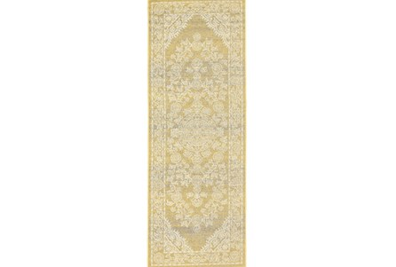 34X94 Rug-Yellow And Ivory Ornate Traditional