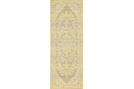 34X94 Rug-Yellow And Ivory Ornate Traditional - Main