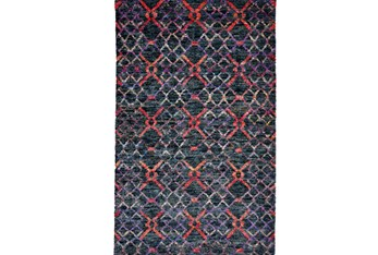 2'x3' Rug-Charcoal And Red Nomadic Harlequin