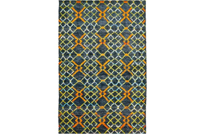 66X102 Rug-Charcoal And Orange Nomadic Harlequin - 360