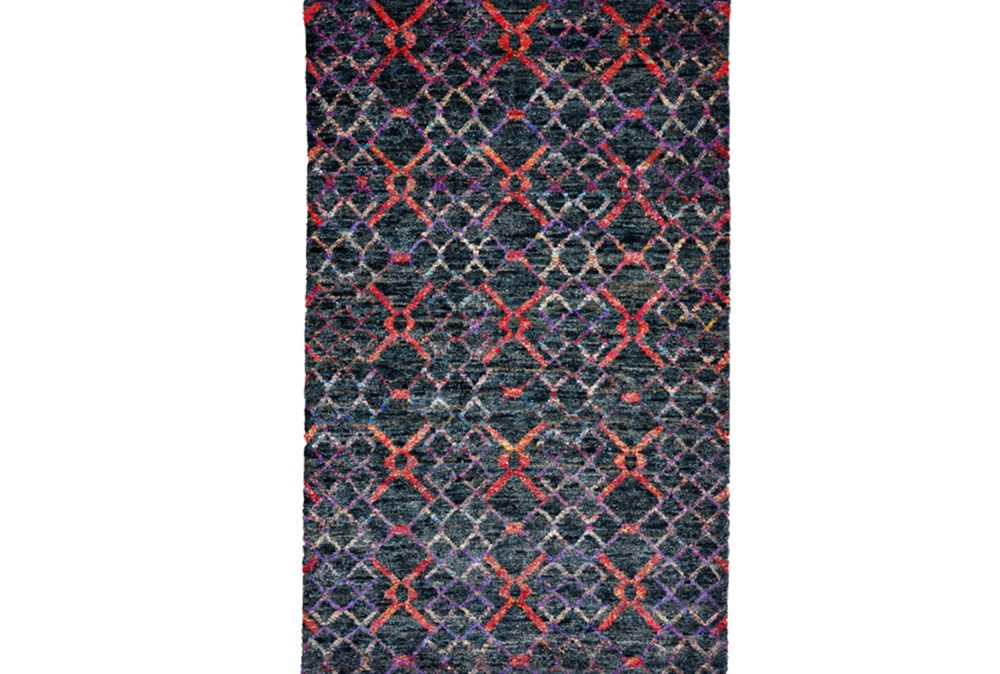 93X117 Rug-Charcoal And Red Nomadic Harlequin
