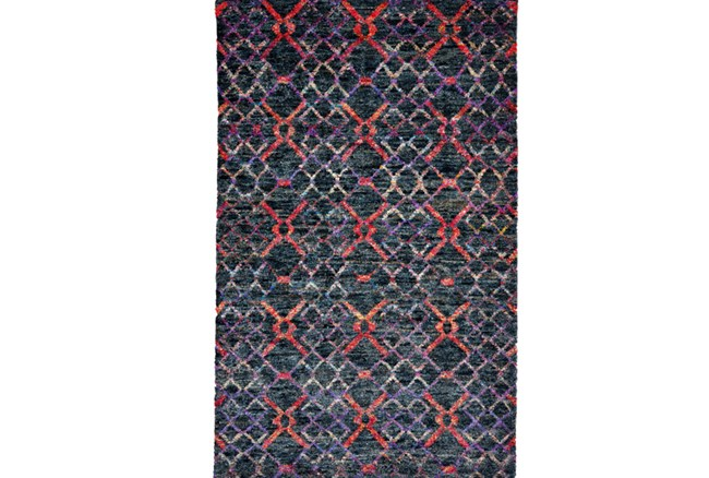 93X117 Rug-Charcoal And Red Nomadic Harlequin - 360