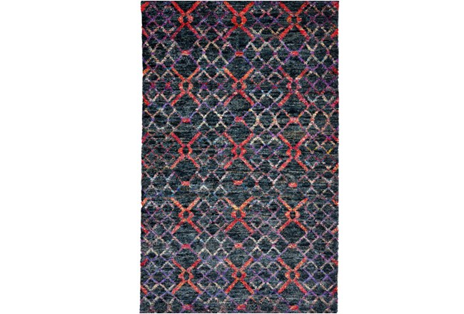 102X138 Rug-Charcoal And Red Nomadic Harlequin - 360