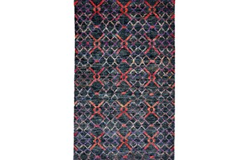 114X162 Rug-Charcoal And Red Nomadic Harlequin