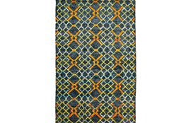 114X162 Rug-Charcoal And Orange Nomadic Harlequin