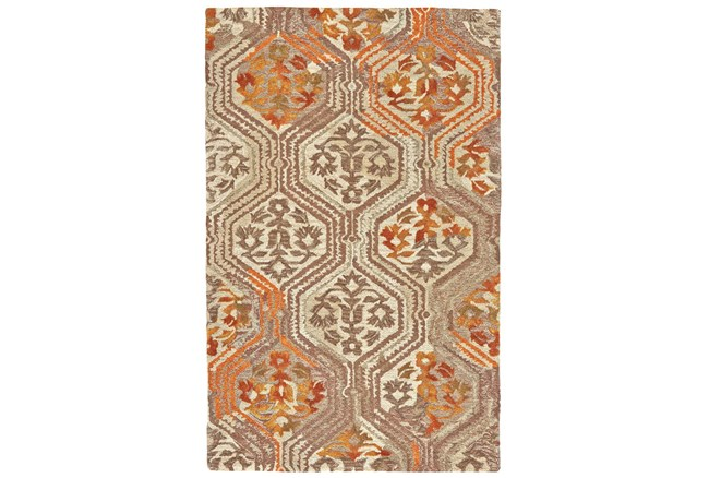 5'x8' Rug-Orange And Taupe Floral Geometric - 360