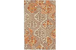 "7'8""x9'8"" Rug-Orange And Taupe Floral Geometric"