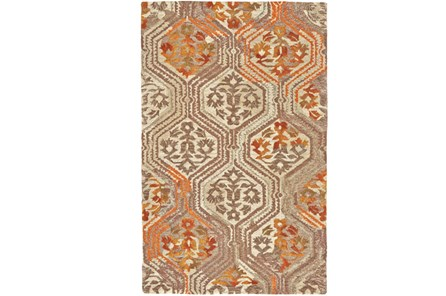 93X117 Rug-Orange And Taupe Floral Geometric - Main