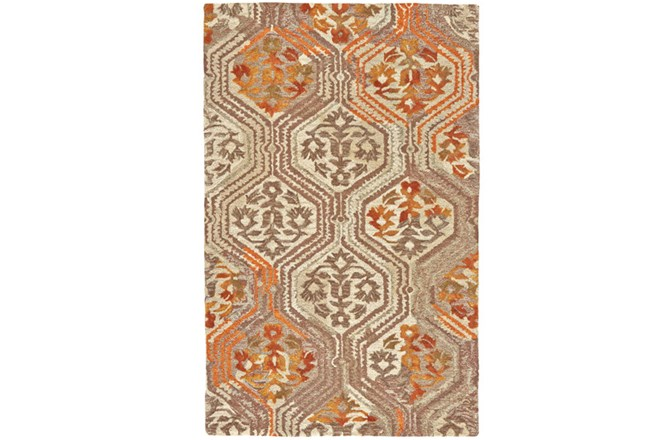 93X117 Rug-Orange And Taupe Floral Geometric - 360