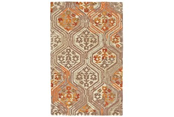 """7'8""""x9'8"""" Rug-Orange And Taupe Floral Geometric"""
