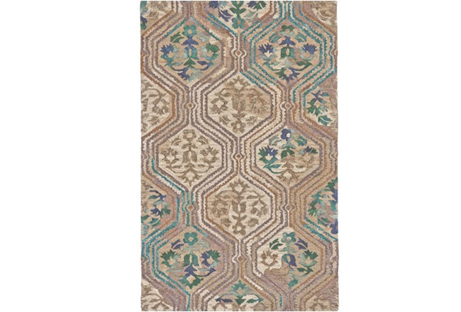 114X162 Rug-Green And Taupe Floral Geometric - 360