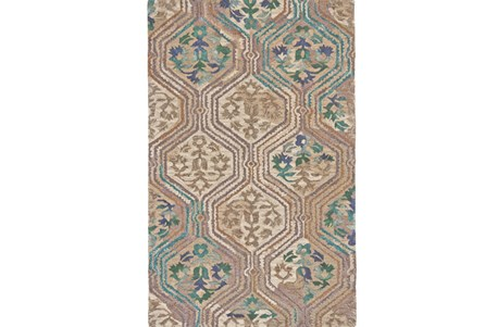60X96 Rug-Green And Taupe Floral Geometric